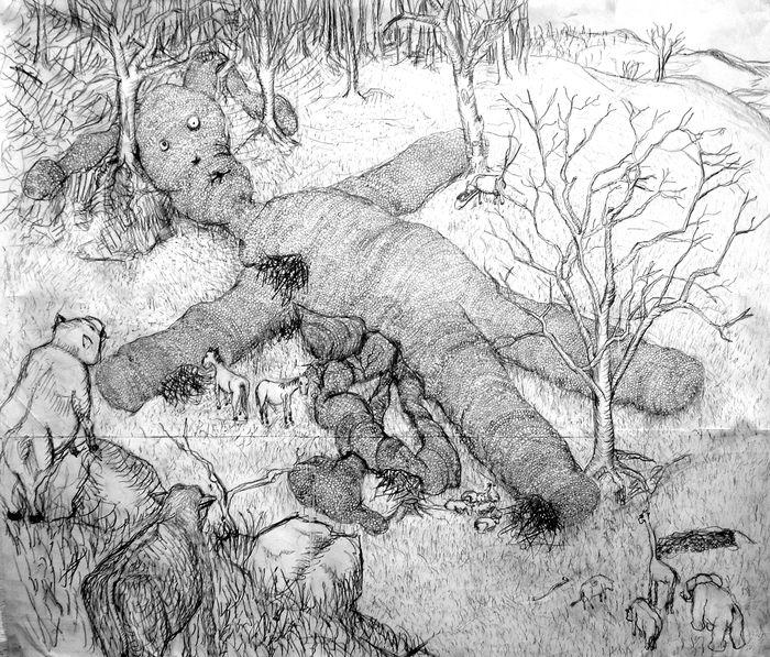 Tohle je prvotní návrh a umělecká představa z roku 2000. Kresba Rosa Hase.