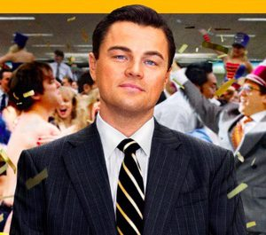 Leonardo jako Vlk z Wall Street.